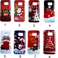 apple theme pc - Christmas theme carton santa claus case cover for iphone5 s s plus for samsung galaxy S6 edge PC back cover case for Christmas gift