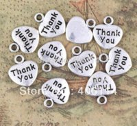affirmation charms - 280pcs Antique Silver Single sided Affirmation Heart quot Thank You quot Charm Pendants X11mm Charms Cheap Charms