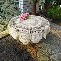 Wholesale High Quality Handmade Crochet Tablecloth Hollow Tablecloth Weave Table Cover Home Decor Round Tablecloths JM0112 kevinstyle