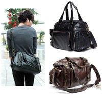 leather duffle bag - New Men s Fashion Hand bag PU Leather Gym Duffle Satchel Shoulder Travel Bag Handbag Dark Brown Black