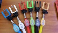 Wholesale 10 colors Extendable Handheld Self portrait Monopod selfie stick Photograph Bluetooth Shutter Camera Remote Controller For ios and Android