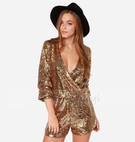Wholesale Plus Size XXL New Tropical Gold Sequins Crossed Bodysuit Macacao Female V Neck Full Sleeves Sequins Shorts Jumpsuit Women Romper