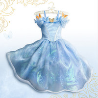 Wholesale Cinderella Dress Cinderella Costume Party Princess Dress Lace Ball Gown Prom Dress Tulle Gown Maxi Dress Royal Blue With Butterfly DHL Free