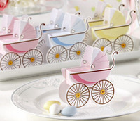 baby girl party favors - 1603 Pink blue baby carriage candy boxes girl boy baby shower favors party supplies kid birthday gift box chocolate box Wholes