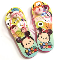 Wholesale 60pcs TSUM TSUM boys girls slippers cartoon Mickey Minnie mouse flat sandal slipper kids Flip Flops EVA children beach shoes HX