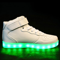 Cheap 8 Colors Men LED Shoes Autumn Winter High Top Growing Shoes For Man Luminous Lights Shoes White  Black Dropshipping