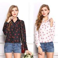 Cheap 2015 Summer Women Tops Chiffon Blouses Lapel Turn-down Collar Long Sleeves Sexy Lips Print Fashion Ladies Shirts L XL XXL