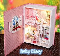 Wholesale 2015 DIY Wooden Doll House Of Baby Diary with Led light Creative Book Model Miniature Dollhouse Toys for Kid