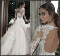 church dresses - 2015 Sheer Jewel Bridal Wedding Dress Long Sleeves Backless A Line Appliques Lace Court Train Cathedral Church Wedding Dresses Bow
