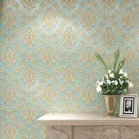 Wholesale Luxury European Blue D Stereoscopic Thick Embossed Non woven Wallpaper Damascus Bedroom Living Room TV Background Wall Paper