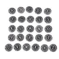 Wholesale initial A Z alphabet letter Noosa chunk Metal snap antique silver jewelry alloy button fits original Noosa bracelet Ginger snap jewelry mm