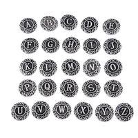 achat en gros de diy bouton bijoux-Initiale A-Z alphabet lettre Noosa morceau de métal en alliage gingembre boutons-pression pour gingembre bracelet à pression DIY bijoux