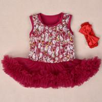 baptism rompers - summer Baby Girls Vest Rose Flower Lace Tutu Rompers Dress Ballet Ruffle Dress Headband Princess Baptism Carter Bodysuit
