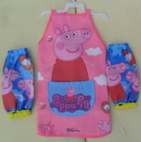 Wholesale Children Water proof Peppa Pig Cartoon Pattern Pink Apron Sets Sleeveless Apron Oversleeve Baby Painting Work Aprons L0807