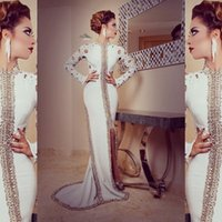 dubai - Modern White Arabic Long Sleeves Formal Evening Dresses High Neck Sequins Beading Sheath Prom Gowns Pakistani Dubai Dresses Plus Size