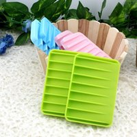 Wholesale Fashion Soft Kitchen Bathroom Accessories Silicone Flexible Soap Dishes Antiskid Soap Tray Plated Holder Soap Box Candy Colors
