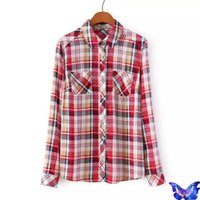 Cheap Blusinhas Camisas Femininas Dudalina Fashion Womens Tops Long Sleeve Cotton Tartan Plaid Shirt For Women