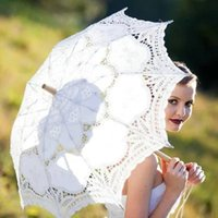 Wholesale Wedding Parasols Paper Umbrellas Handmade White And Ivory Battenburg Lace Vintage wedding Bridal Umbrella For Bridal Bridesmaid ZC