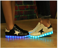 led point - 2016 New Mens Womens Sneakers Luminous USB Charging Colorful LED Lights Sneakers Casual Flat Shoes Couple Models Five pointed Star Shoes