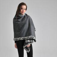 rex rabbit scarf - New Rex Rabbit Fur Collar Women Wool Scarf Shawl Scarf Winter Banquet Cape Fur Shawl cm Color