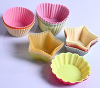 Wholesale 2015 NEW cm Candy Color Silicone Cake Baking Moulds Muffin Cup Cake Moulds FDA SGS Non toxic Tasteless Non stick Bakeware Cupcakes