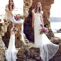 beach brushes - 2016 New Summer Anna Campbell Lace Beach Bohemian Wedding Dresses Cap Sleeves Open Back Brush Train Sheath Bridal Gowns BO8922