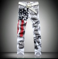 designer casual jeans - High Quality American Flag print Men Jeans New Fashion casual Cotton Designer Denim