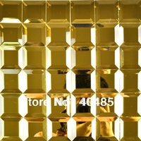 beveled glass - Gold five facets crystal diamond beveled gold mirror glass mosaic tile