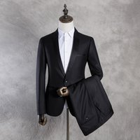 Wholesale Real Images Black Groomsmen Tuxedos Lapel Slim Fit One Button Best Man Men s Wedding Suits pieces Jacket Pants
