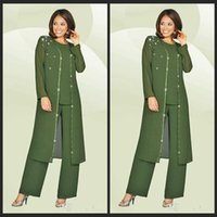 plus size mother of the bride dresses - 3 Pieces Chiffon Mother Of The Bride Pant Suits Jewel Long Sleeves Army Green Plus Size Mother Dress Evening Party Gowns Cheap