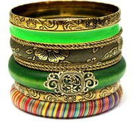 Bohemian wooden bangles - High Quality Vintage Indian Bangle Set Unique Designed Jewelry Stackable Wooden Coloful Fashion Multi Layers Bracelet Set Cool Stuff