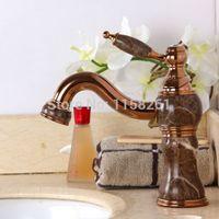 Wholesale New Arrival Unique Design Marble Rose Gold Finish Basin Vessel Sink Faucet Retro water mixer taps E