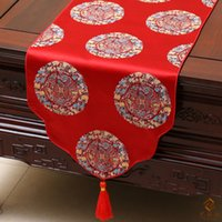 banquet table linen - Happy Event Table Runners Table Linen Chinese Rustic Style Luxury Damask End Table cloth Dining Table Mats Wedding Banquet Decorations