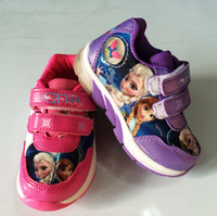 Cheap 2015 New Arrival Frozen Anna and Elsa Children Sport Shoes Cute Kids Sneakers Purple Pink 6 pairs lot Free Shipping