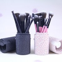 arrival hair pieces - new Arrivals Professional Pieces Makeup Brushes Leather Peel bucket set