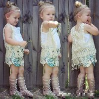 baby girl vest - 2016 INS HOT baby girl kids floral crochet vest crocheted hollow lace knitted shawl robe coat cardigan Poncho tops Cute tassels fringed