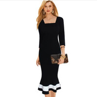 Wholesale Nice Womens Elegant V Back Square Neck Colorblock Mermaid Work Office Party Evening Sheath Pencil Bodycon Midi Dress