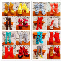 Wholesale SALE Pairs Fashion Shoes For Monster Dolls Beautiful High Heels Monster Doll Sandals Boots Mixed Style Shoes A3