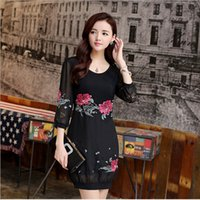 Wholesale 2015 Summer Women Chinese Style Dresss Chinese Style Women s Fashion Silk Embroidered dress Lace Slim Flower Party Dress Summer Dress B