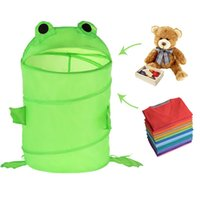 Wholesale Lovely Green Frog Pop up Collapsible Storage Bucket Toy Laundry Basket K5BO