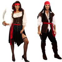 Wholesale Captain Jack Sparrow Pirates of the Caribbean Halloween Party Mens Women Fancy Costume New Year Gift