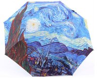 Wholesale oil painting Vincent Van Gogh Starry Night sun rain Umbrella Fold Anti UV fashion hot selling abstract art