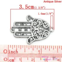 antique baby dolls - Charm Pendants Hamsa Symbol Hand Antique Silver Hollow Flower Pattern x2 cm K03752 pattern doll patterns for baby diapers