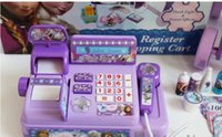 Wholesale aific Retail NEW Voice glowing frozen Multi function cash register Play educational toys Elsa Anna girls gift Of genuine