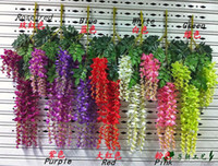 Wholesale Simulation Flowers New Simulation Artificial Silk Flowers Beautiful Wisteria Flowers Vine Birthday Christmas Ornaments For Party Wedding Dec