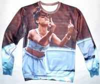 Cheap 2014 New 3D Rihanna sweatshirt men women's novelty fuck finger print pullover hoodies full sleeve casual shirts for woman