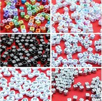 bead loom - 2014 new styles Loom band mm Multi color With Black Alphabet Pony Beads Letter Beads Cube Shape Beads For Loom Band Bracelet