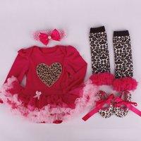 Wholesale FashionChristmas babies lace heart long Sleeve T shirt leopard print leggings bowknot shoes bowknot hair band sets kids Sets Xd0019