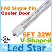 T8 32W SMD 2835 5ft T8 Led Tubes Light FA8 Single Pin 32W V-Shaped Cooler Door Led Light Tubes 270 Angle AC 85-265V UL FCC