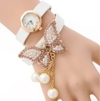 Wholesale New Arrival Women s Faux Pearls Rhinestone Butterfly Wrap Bracelet Quartz Analog Wrist Watch
